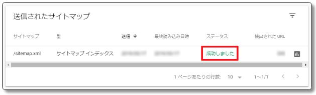Search-Consoleの送信されたサイトマップ