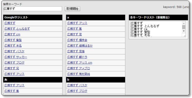 メインキーワードの関連キーワードを表示